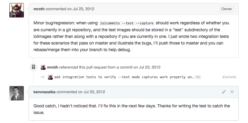 comments on github